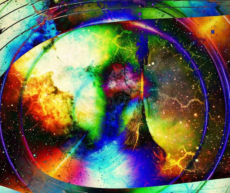 Βάρκα Βίκινγκ στο διάστημα και αστέρια, κολάζ υπολογιστών, διάστημα με την ελαφριά λάμψη Βάρκα με τον ξύλινο δράκο ελεύθερη απεικόνιση δικαιώματος