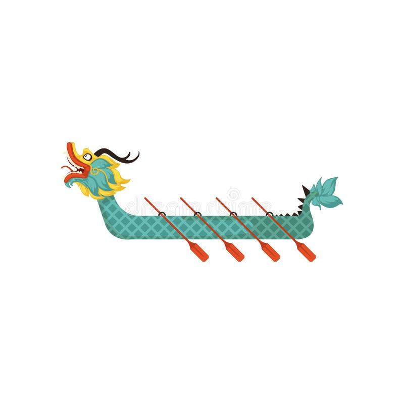 Βάρκα δράκων με τα κουπιά, σύμβολο της κινεζικής παραδοσιακής διανυσματικής απεικόνισης φεστιβάλ σε ένα άσπρο υπόβαθρο απεικόνιση αποθεμάτων