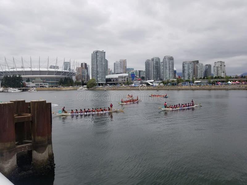 Βάρκα δράκων που συναγωνίζεται το Βανκούβερ στοκ φωτογραφία με δικαίωμα ελεύθερης χρήσης