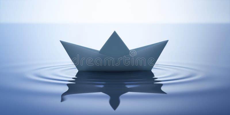 Βάρκα εγγράφου στο ήρεμο νερό - τρισδιάστατη απεικόνιση απεικόνιση αποθεμάτων