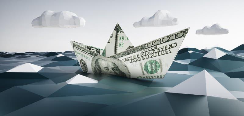 Βάρκα εγγράφου φιαγμένη από 100 σημειώσεις δολαρίων ελεύθερη απεικόνιση δικαιώματος
