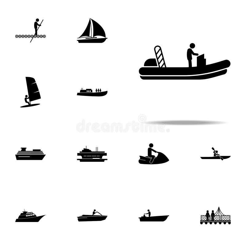 βάρκα, εικονίδιο μηχανών καθολικό εικονιδίων μεταφορών νερού που τίθεται για τον Ιστό και κινητό ελεύθερη απεικόνιση δικαιώματος