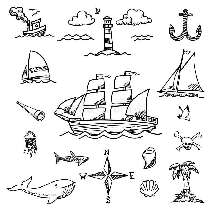 Βάρκα και θάλασσα Hand-drawn Doodles ελεύθερη απεικόνιση δικαιώματος