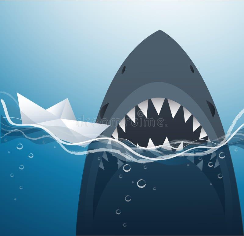 Βάρκα και καρχαρίας εγγράφου στο μπλε διάνυσμα υποβάθρου θάλασσας διανυσματική απεικόνιση