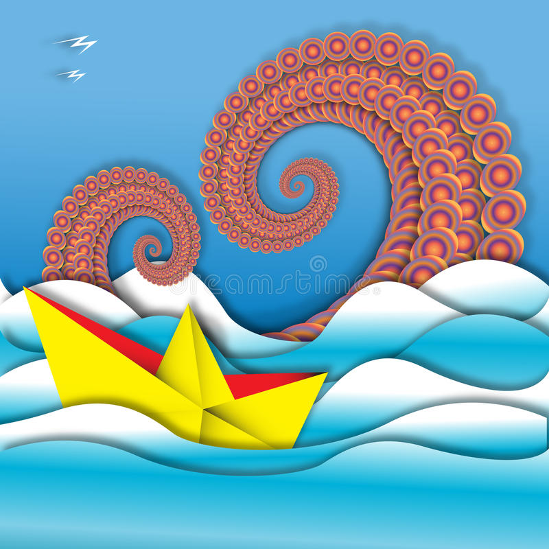 Βάρκα και χταπόδι εγγράφου διανυσματική απεικόνιση
