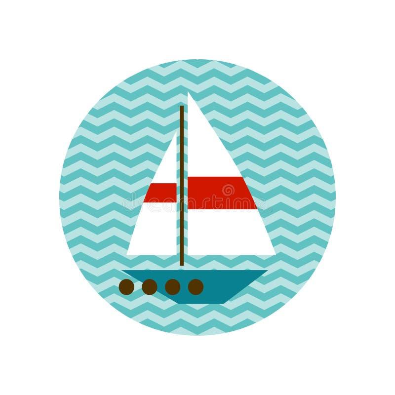 Βάρκα με ένα άσπρο πανί στα κύματα ελεύθερη απεικόνιση δικαιώματος