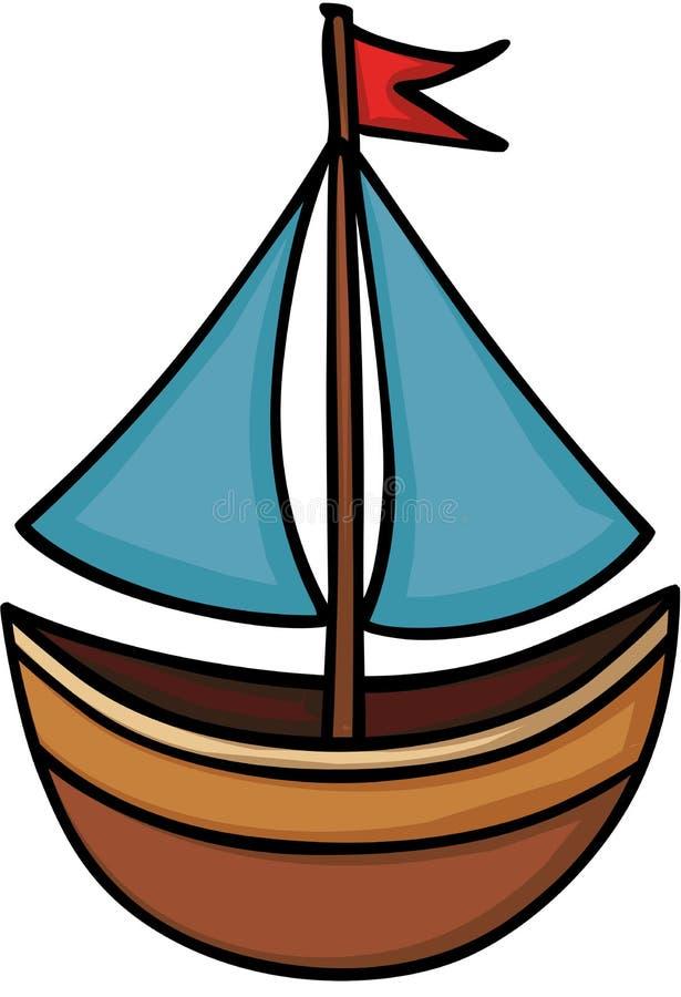 Βάρκα με ένα πανί διανυσματική απεικόνιση