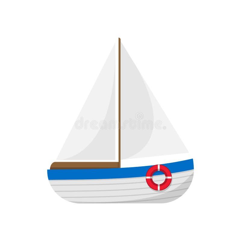 Βάρκα πανιών που απομονώνεται στην άσπρη ανασκόπηση επίσης corel σύρετε το διάνυσμα απεικόνισης διανυσματική απεικόνιση