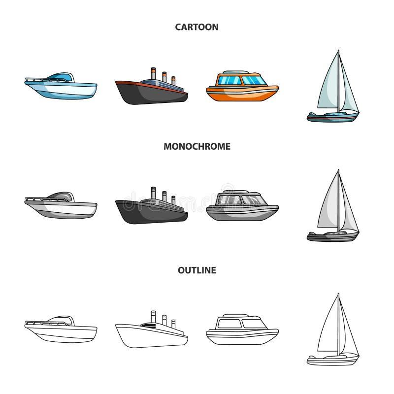 Βάρκα προστασίας, ναυαγοσωστική λέμβος, ατμόπλοιο φορτίου, αθλητικό γιοτ Σκάφη και καθορισμένα εικονίδια συλλογής μεταφορών νερού διανυσματική απεικόνιση