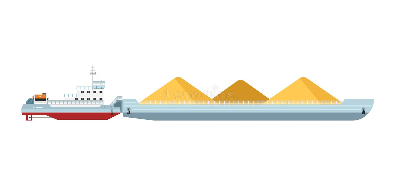 Βάρκα ρυμουλκών με τη φορτηγίδα φορτίου ελεύθερη απεικόνιση δικαιώματος