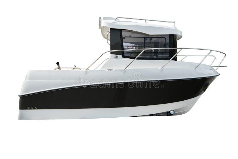 Βάρκα, σκάφος ή γιοτ μηχανών που απομονώνονται στο άσπρο υπόβαθρο με το συνδετήρα στοκ φωτογραφίες