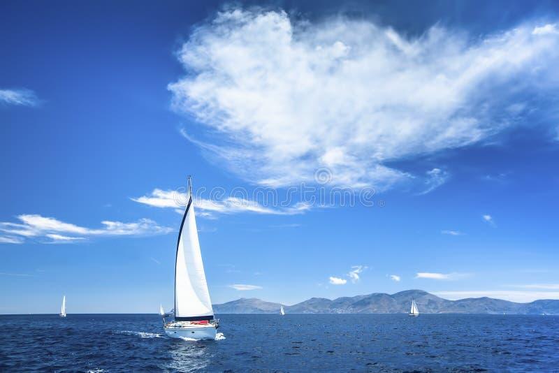 Βάρκα στο regata ναυσιπλοΐας στη θάλασσα Φύση στοκ εικόνα