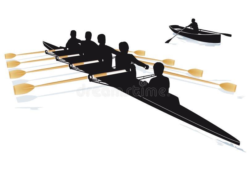 Κωπηλατώντας βάρκες διανυσματική απεικόνιση