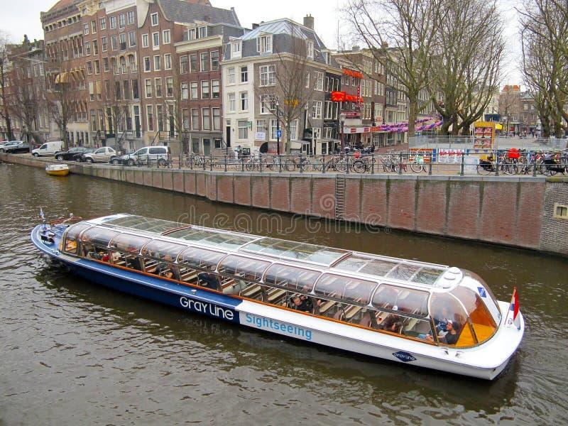 Βάρκα 0941 τουριστών του Άμστερνταμ στοκ εικόνες