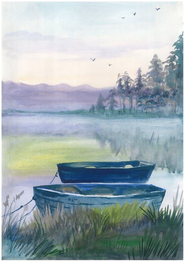 Βάρκα Watercolor στον ποταμό απεικόνιση αποθεμάτων
