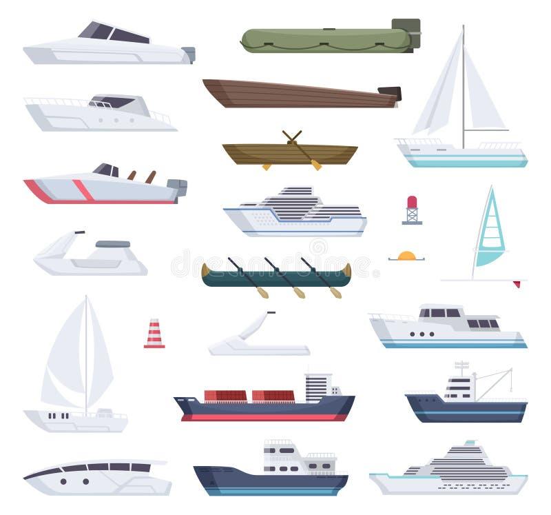 Βάρκες Θάλασσα νερού ή ωκεάνια μεταφορά κινούμενων σχεδίων σκαφών σκαφών μικρή και μεγάλη και βαρκών ναυτικών διανυσματική απεικόνιση αποθεμάτων
