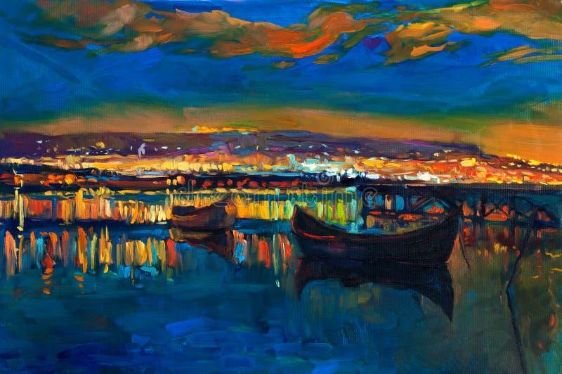 Βάρκες και πόλη διανυσματική απεικόνιση