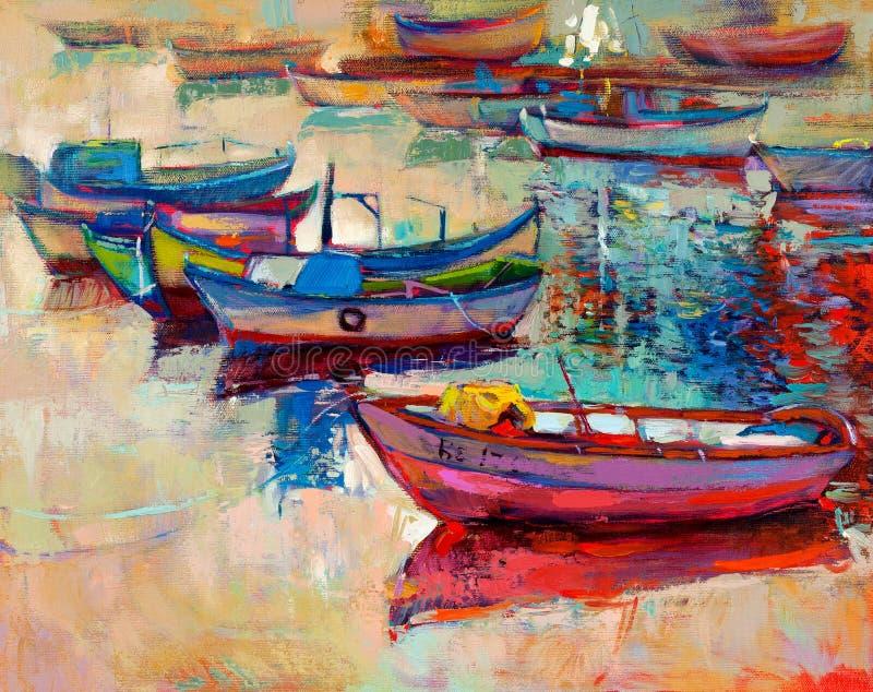 Βάρκες και ωκεανός ελεύθερη απεικόνιση δικαιώματος