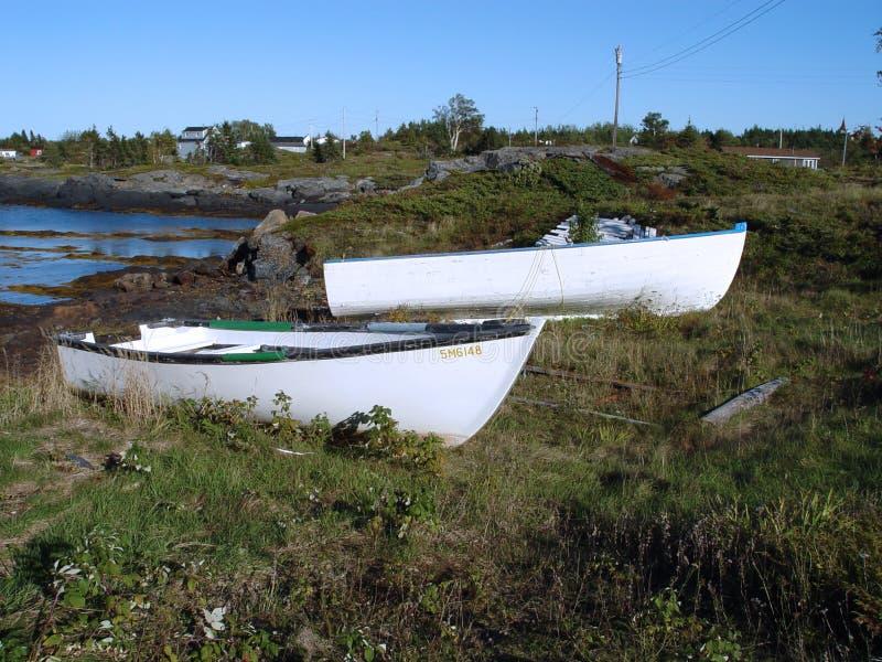 βάρκες που κωπηλατούν την ακτή Στοκ εικόνα με δικαίωμα ελεύθερης χρήσης