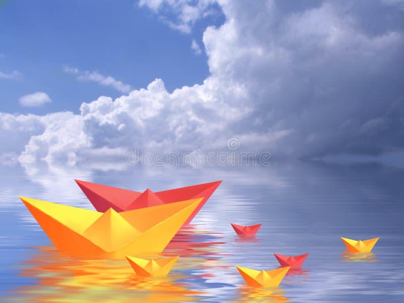 βάρκες που πλέουν από κοινού ελεύθερη απεικόνιση δικαιώματος