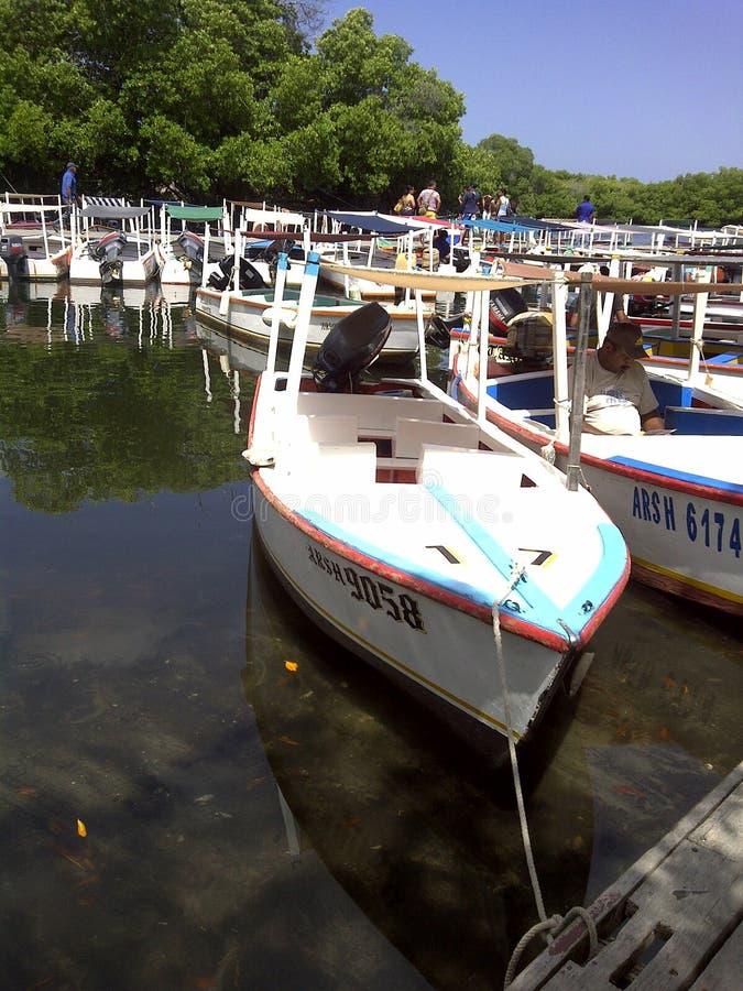 Βάρκες που σταθμεύουν στην ακτή μιας λιμνοθάλασσας στοκ φωτογραφίες
