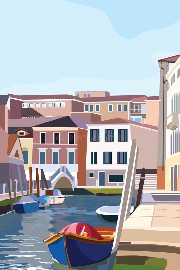 Βάρκες στην ακτή στη Βενετία Φυσική παλαιά ιταλική λιμνοθάλασσα οδών επίσης corel σύρετε το διάνυσμα απεικόνισης διανυσματική απεικόνιση