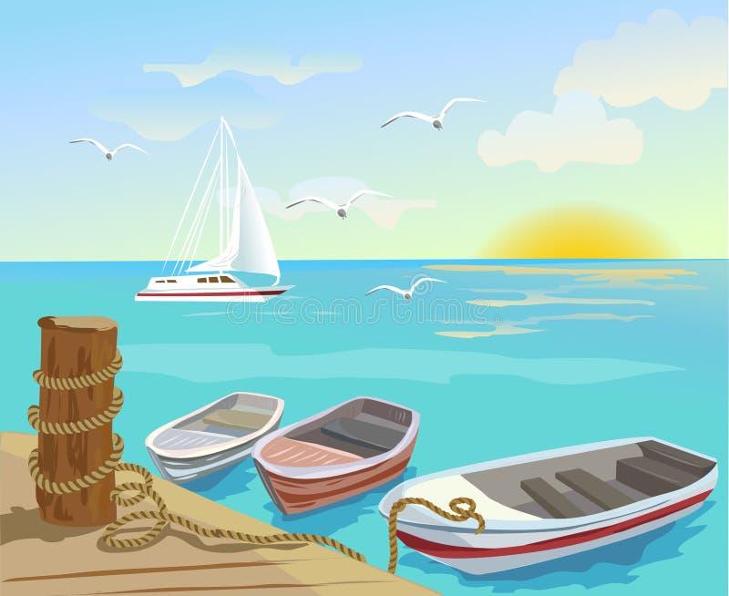 Βάρκες στο αγκυροβόλιο θάλασσας ελεύθερη απεικόνιση δικαιώματος