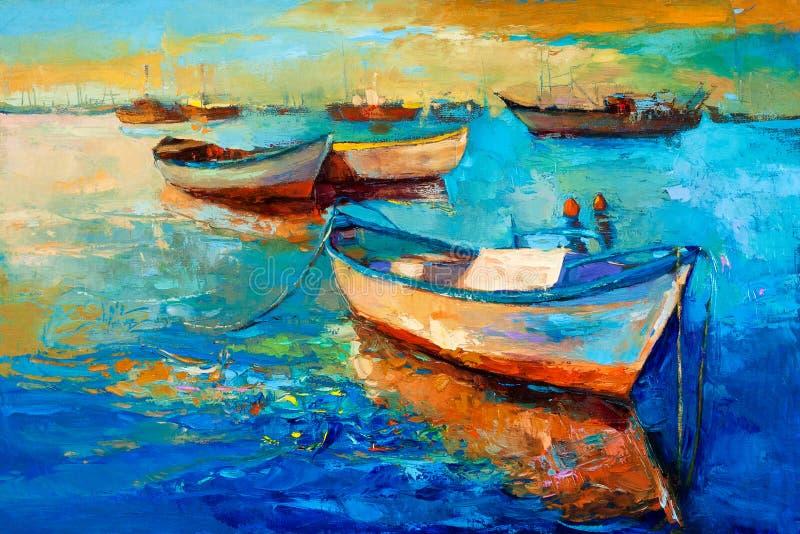 Βάρκες στο ηλιοβασίλεμα απεικόνιση αποθεμάτων