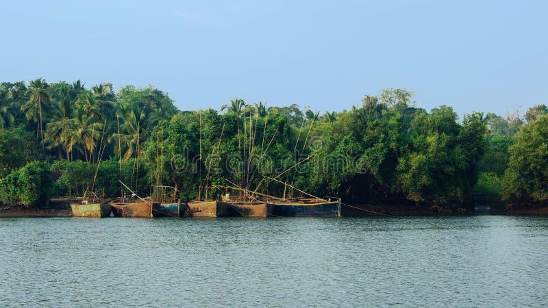Βάρκες ψαράδων ` s στον ποταμό Mandovi στοκ εικόνες