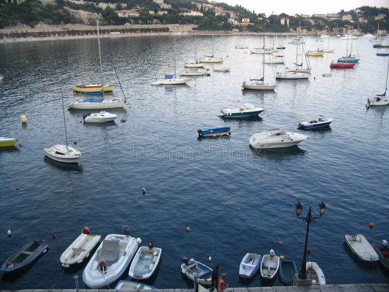 βάρκες villefranche στοκ εικόνες