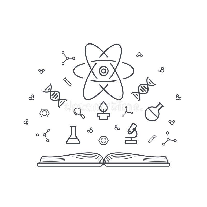 Βάση γνώσεων έννοιας επιστήμης - ανοικτό βιβλίο με τα χημικά και φυσικά στοιχεία της ενέργειας, DNA, μικροσκόπιο, άτομα ελεύθερη απεικόνιση δικαιώματος