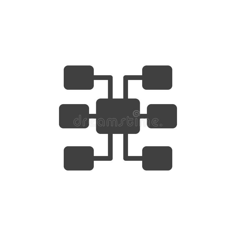 Βάση δεδομένων, κεντρικός υπολογιστής, sitemap διανυσματικό εικονίδιο Στοιχείο των στοιχείων για την κινητή απεικόνιση έννοιας κα απεικόνιση αποθεμάτων