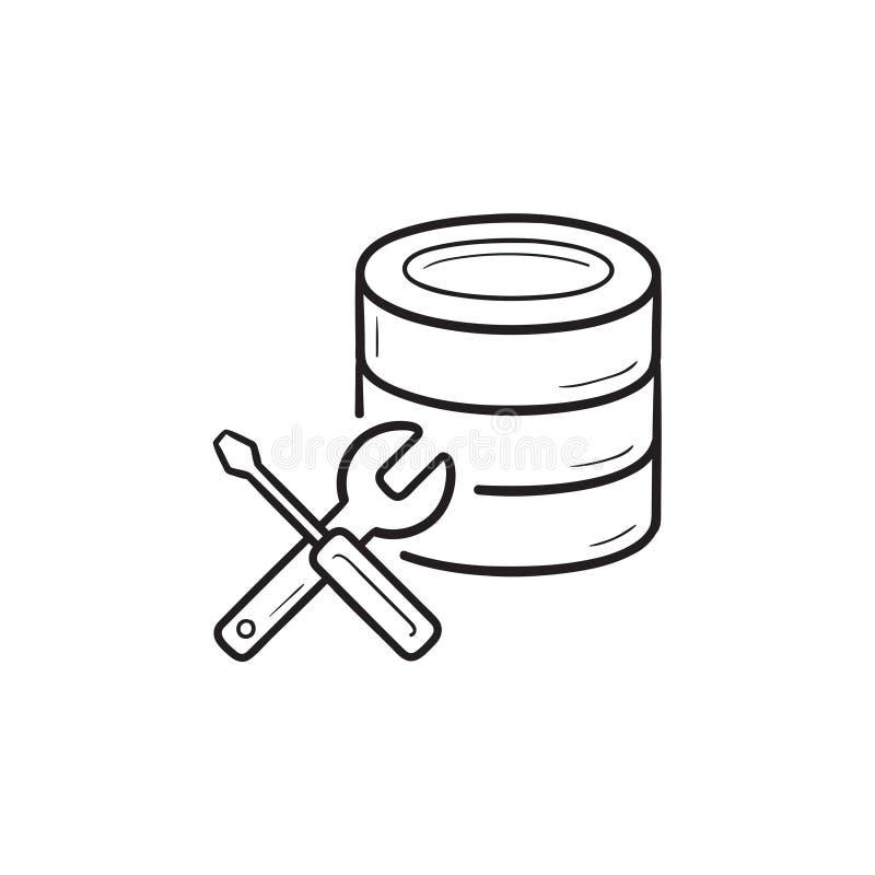 Βάση δεδομένων με συρμένο εικονίδιο περιλήψεων γαλλικών κλειδιών και κατσαβιδιών το χέρι doodle ελεύθερη απεικόνιση δικαιώματος