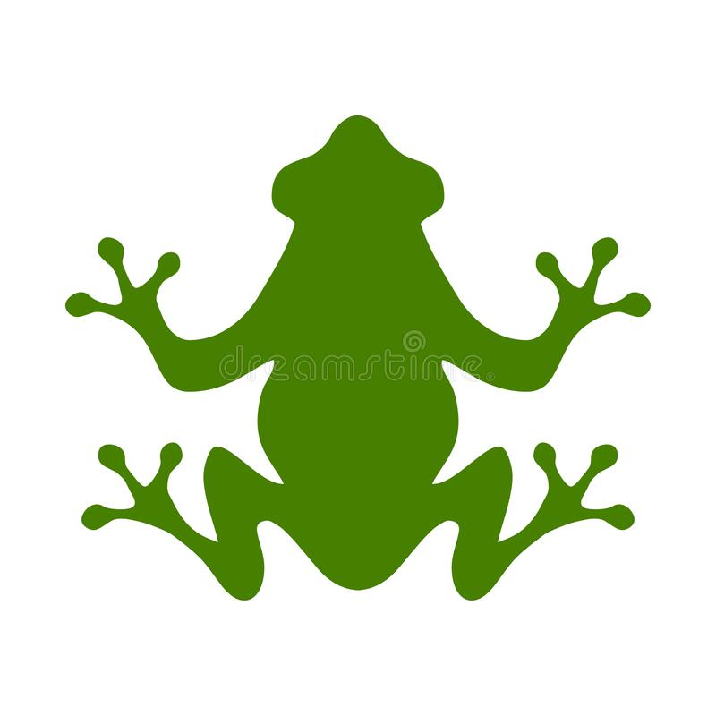 Βάτραχος Επίπεδη απεικόνιση ύφους του πράσινου βατράχου στο άσπρο υπόβαθρο απεικόνιση αποθεμάτων