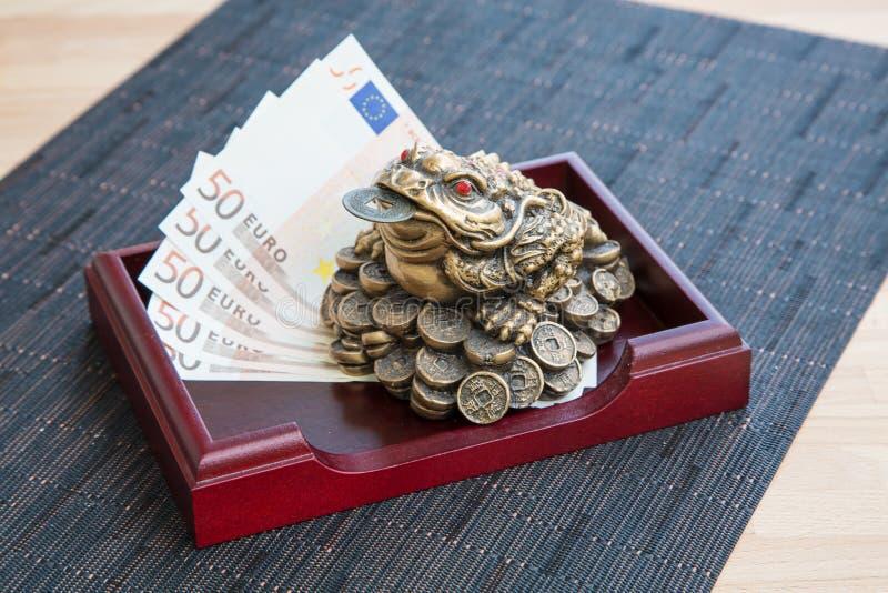 Βάτραχος και ευρώ χρημάτων στοκ εικόνες