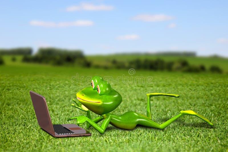 Βάτραχος με ένα lap-top στη χλόη διανυσματική απεικόνιση