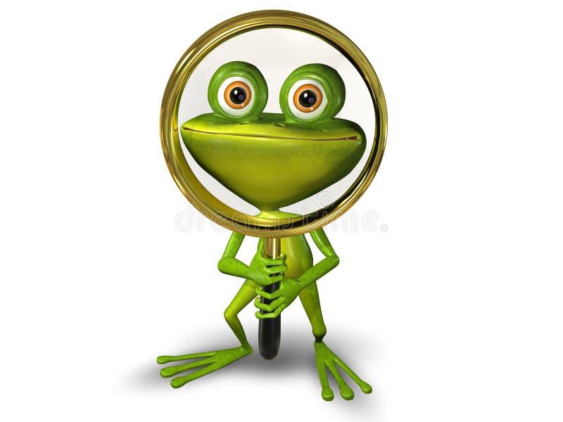 Βάτραχος με μια ενίσχυση - γυαλί ελεύθερη απεικόνιση δικαιώματος