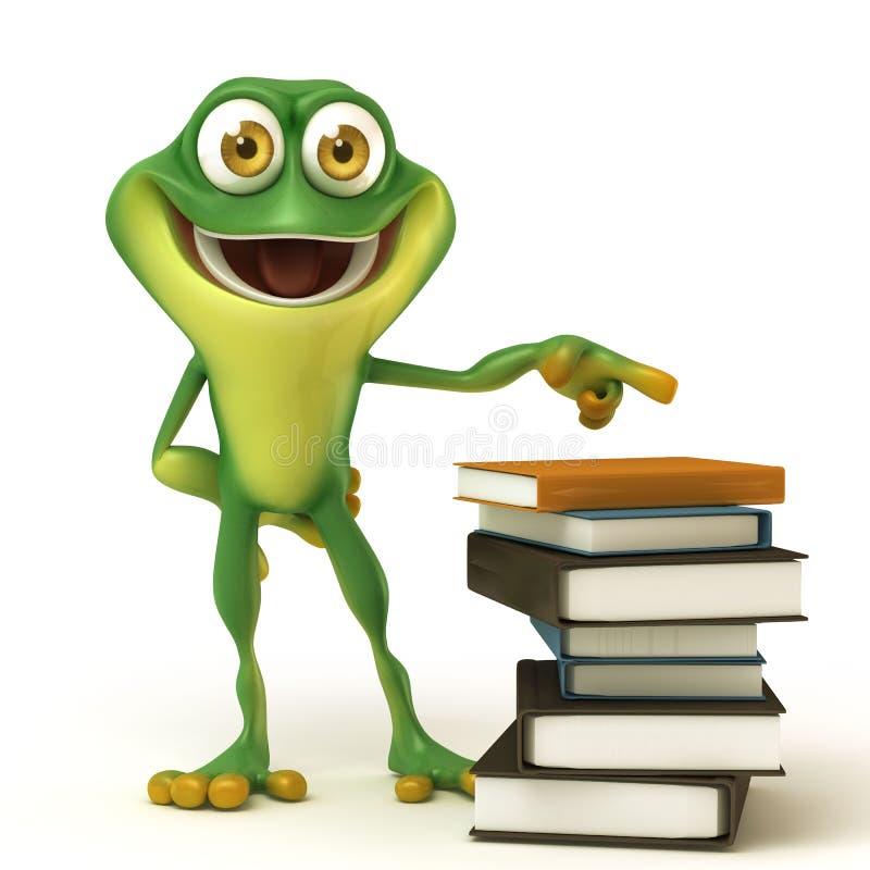Βάτραχος με το άσπρα boardFrog και το βιβλίο απεικόνιση αποθεμάτων