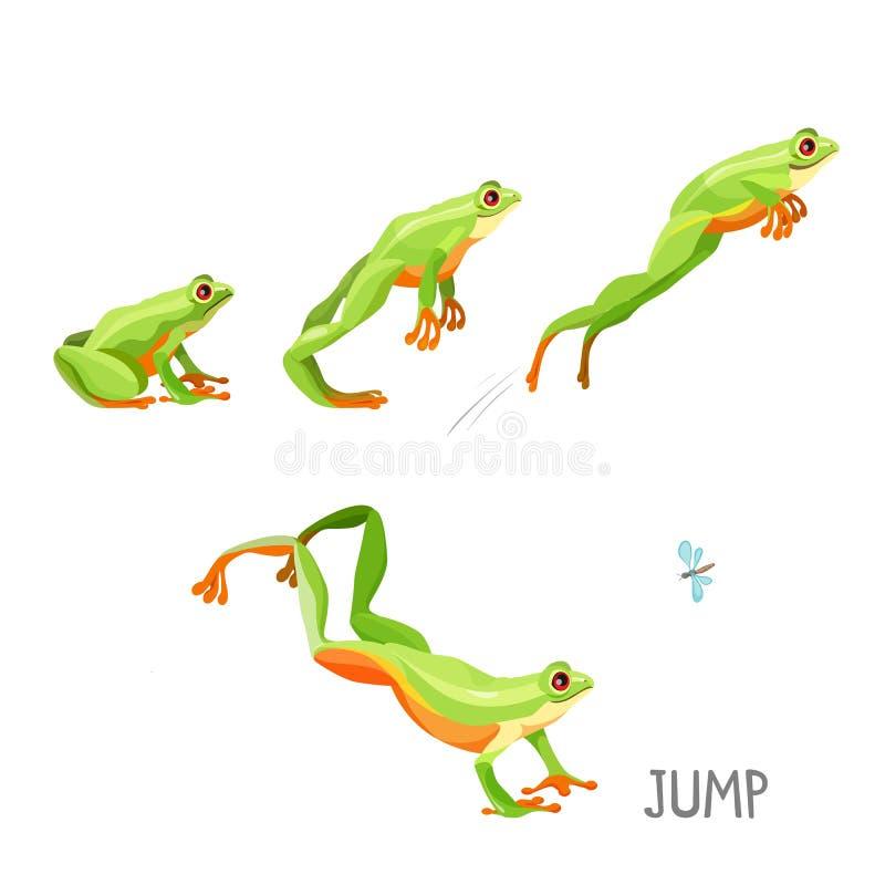 Βάτραχος που πηδά από τη διανυσματική απεικόνιση κινούμενων σχεδίων ακολουθίας απεικόνιση αποθεμάτων