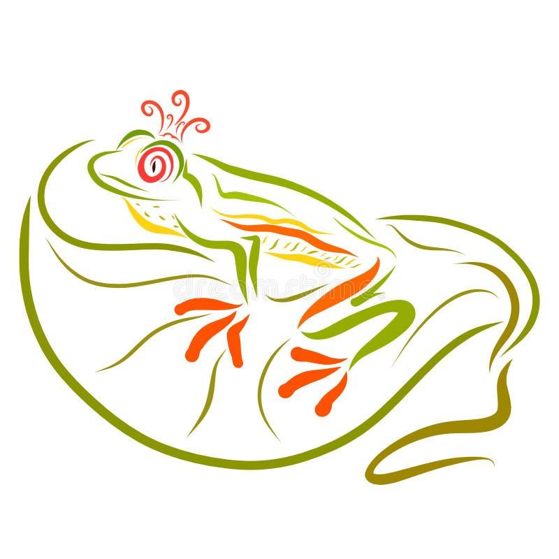 Βάτραχος πριγκηπισσών στην κορώνα, που περιμένει μια συνεδρίαση πριγκήπων σε ένα LE διανυσματική απεικόνιση