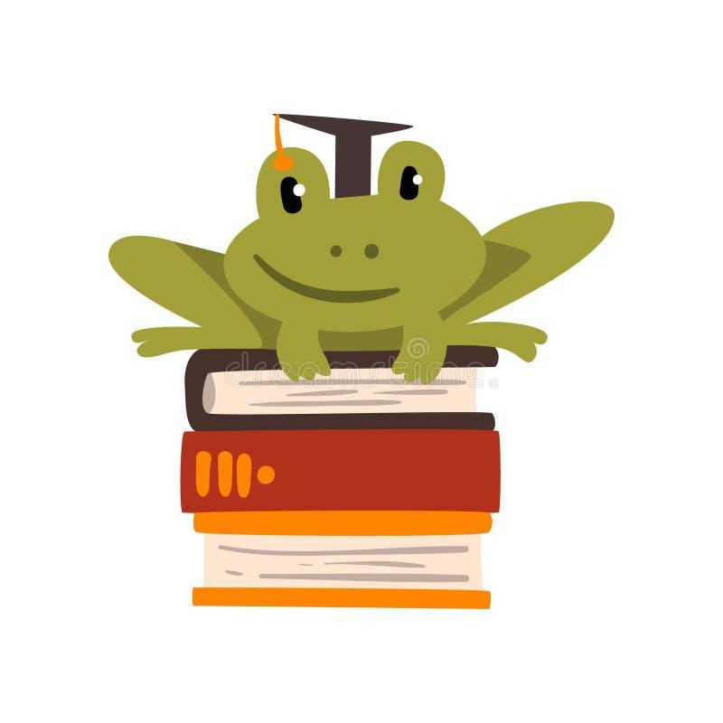 Βάτραχος στη συνεδρίαση βαθμολόγησης ΚΑΠ σε έναν σωρό των βιβλίων, χαριτωμένος αμφίβιος ζωικός χαρακτήρας κινουμένων σχεδίων, σχο ελεύθερη απεικόνιση δικαιώματος