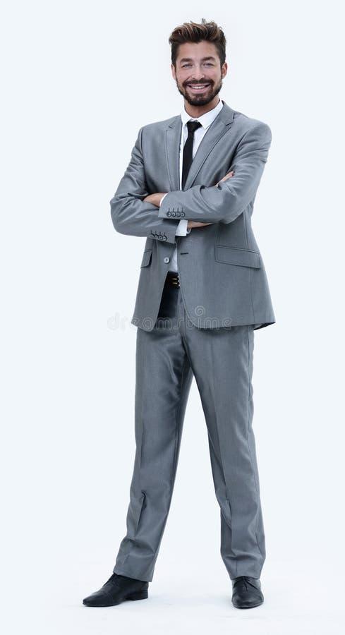 Βέβαιος επιτυχής επιχειρηματίας στο γκρίζο κοστούμι στο άσπρο backgroun στοκ φωτογραφία με δικαίωμα ελεύθερης χρήσης