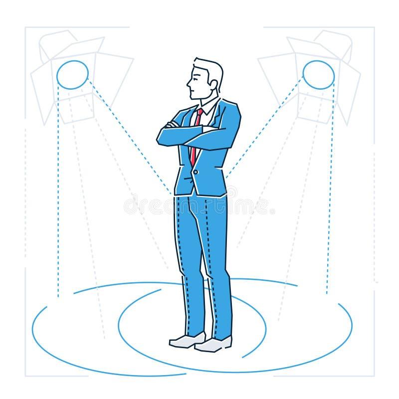 Βέβαιος επιχειρηματίας - απομονωμένη ύφος απεικόνιση σχεδίου γραμμών ελεύθερη απεικόνιση δικαιώματος