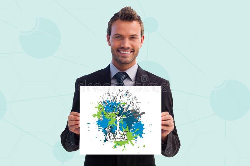 βέβαιος επιχειρηματίας που παρουσιάζουν δολάρια και δέντρο που επισύρεται την προσοχή στην αφίσσα απεικόνιση αποθεμάτων