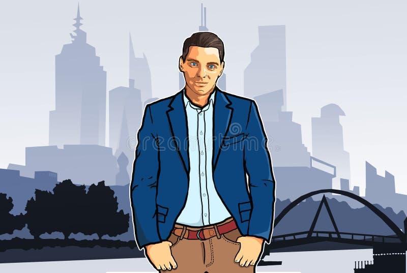Βέβαιος επιχειρηματίας που στέκεται στο υπόβαθρο της πόλης, η έννοια ένα επιτυχές πρόσωπο απεικόνιση αποθεμάτων