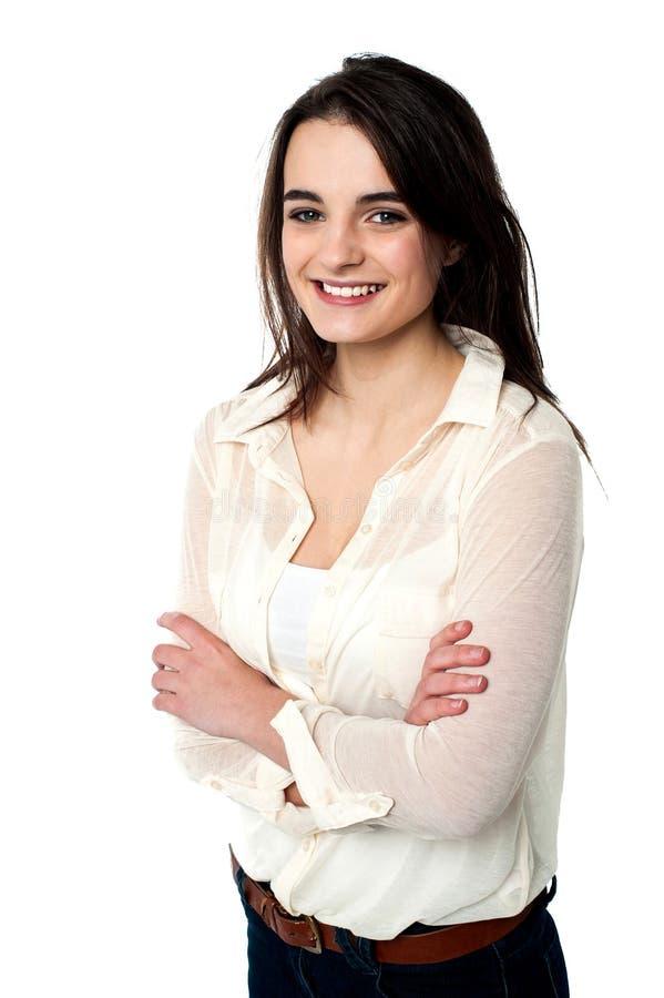 Βέβαιο κορίτσι εφήβων πέρα από το λευκό στοκ εικόνα με δικαίωμα ελεύθερης χρήσης