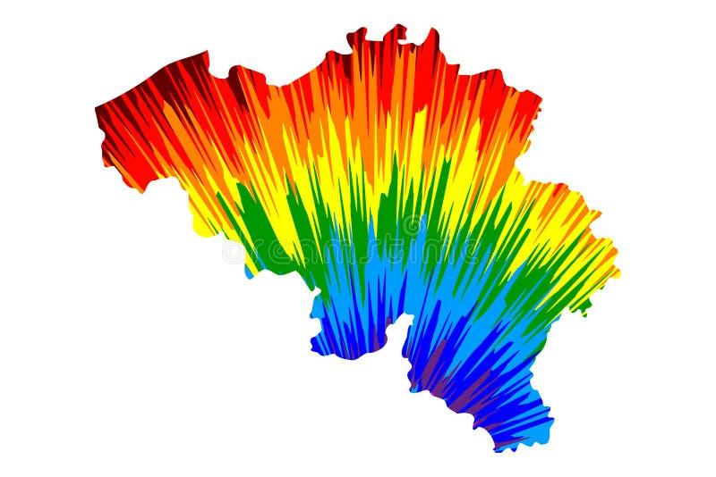 Βέλγιο - ο χάρτης είναι σχεδιασμένο αφηρημένο ζωηρόχρωμο σχέδιο ουράνιων τόξων ελεύθερη απεικόνιση δικαιώματος