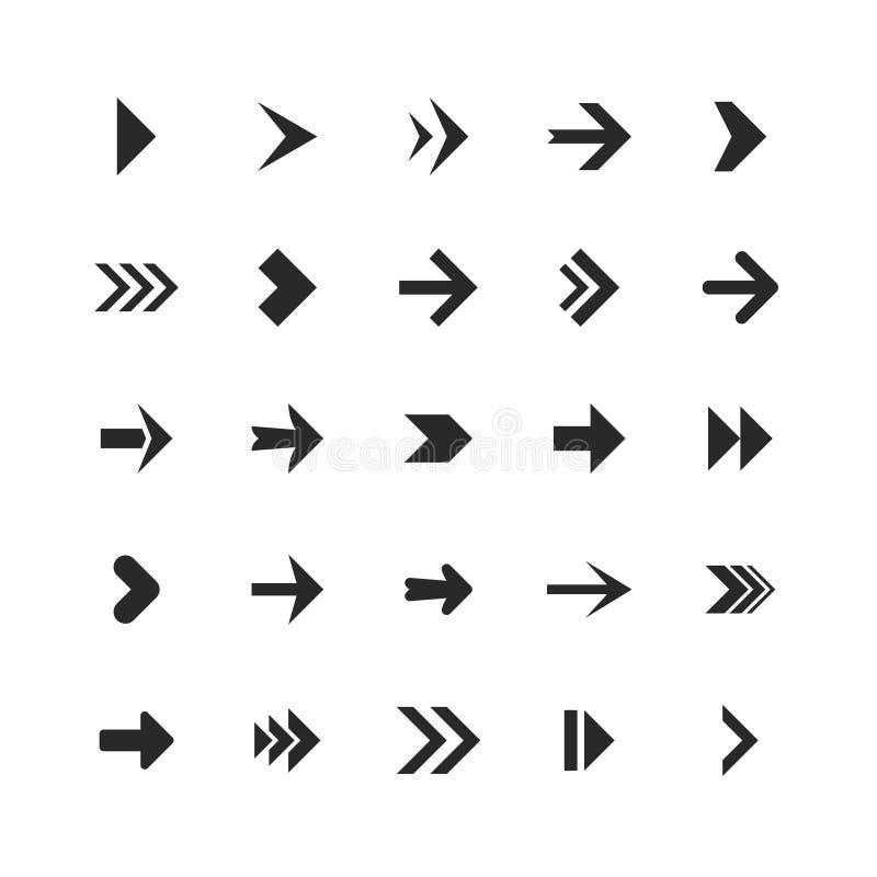 Βέλη καθορισμένα Τα εικονίδια βελών κάτω από την κατεύθυνση επάνω στο δείκτη υπογράφουν το επόμενο right left επίπεδο ναυσιπλοΐας διανυσματική απεικόνιση