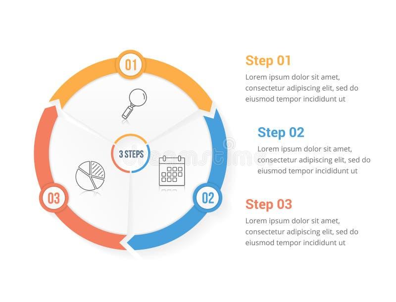Βέλη κύκλων με τρία στοιχεία απεικόνιση αποθεμάτων