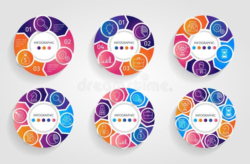 Βέλη κύκλων infographic Επιχειρησιακή έννοια με τις 3 4 5 6 7 8 επιλογές, τα μέρη, βήματα ή διαδικασίες Διανυσματικά διαγράμματα  ελεύθερη απεικόνιση δικαιώματος
